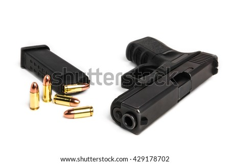 gun and bullets - stock photo