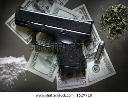 gun and drugs - stock photo