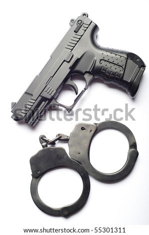 gun and handcuffs isolated
