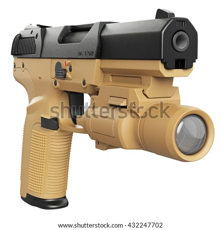 Gun beige military, police with flashlight. 3D graphic - stock photo