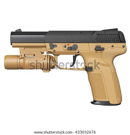 Gun beige military, police with flashlight, side view. 3D graphic - stock photo
