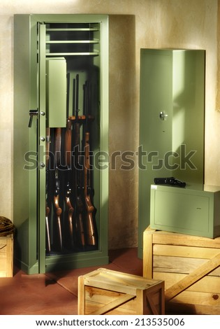 gun closet with rifles
