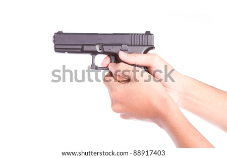 Gun control concept - Man with handgun, isolated on white - stock photo