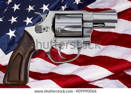Gun control rights weapon USA American flag concept photograph - stock photo