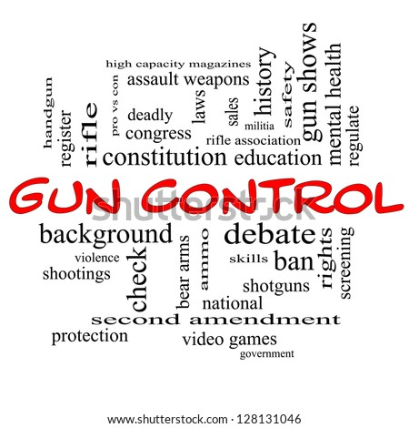 Gun Control Word Cloud Concept in Red Caps with great terms such as second, amendment, right, bear, arms, violence and more. - stock photo
