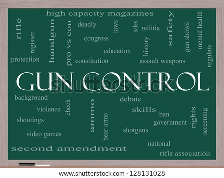 Gun Control Word Cloud Concept on a Blackboard with great terms such as second, amendment, right, bear, arms, violence and more.