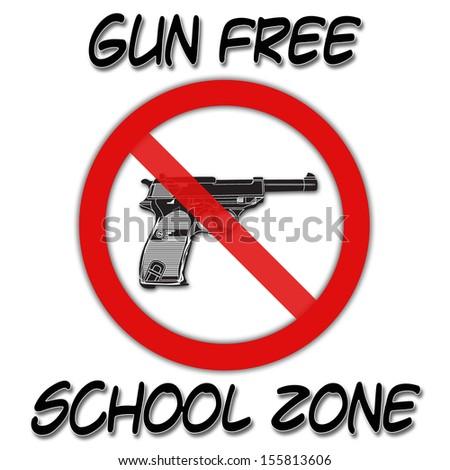 Gun Free School Zone on white background - stock photo