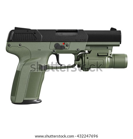 Gun green military, police with flashlight, side view. 3D graphic