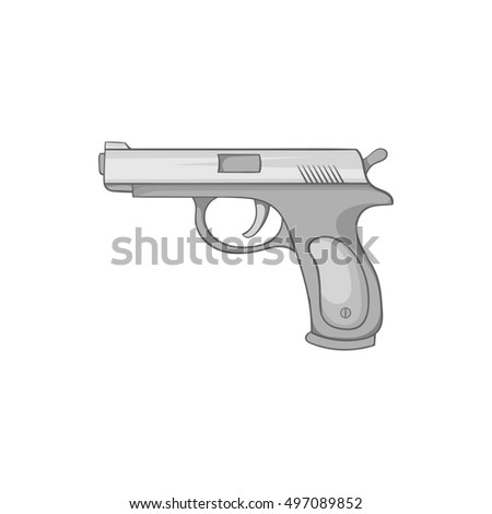 Gun icon in black monochrome style isolated on white background. Weapons symbol  illustration