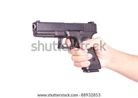 Gun in Hand on white background - stock photo