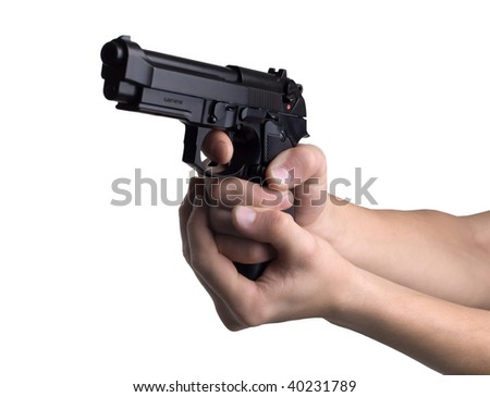 gun in hands on a white background - stock photo