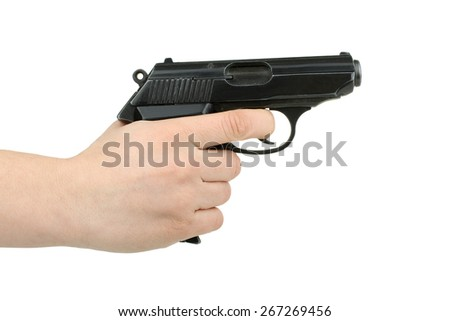 gun in the hand isolated