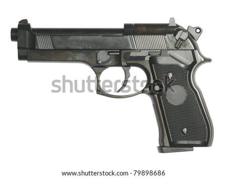 Gun isolated on white with clipping path inside - stock photo