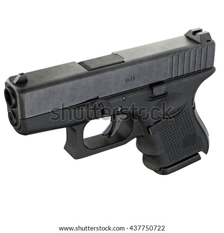Gun metallic police, military, black on white background isolated, top view. 3D graphic - stock photo