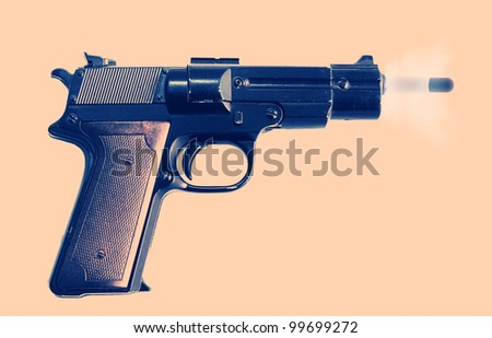 gun or pistol evidence of a crime or security and protection. gunshot with bullet and smoke - stock photo