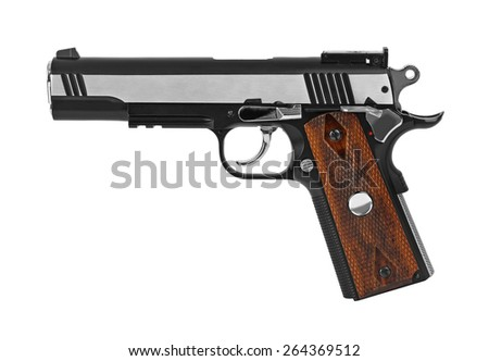 Gun pistol isolated on white background - stock photo