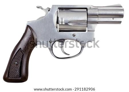 Gun Pistol Revolver Isolated On White Background - stock photo