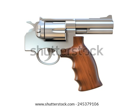 gun pointing on the wrong direction - suicide, friendly fire 3d concept - stock photo