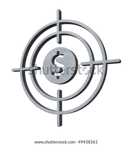 gun sight with dollar symbol on white background - 3d illustration - stock photo