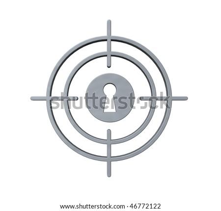 gun sight with keyhole on white background - 3d illustration - stock photo