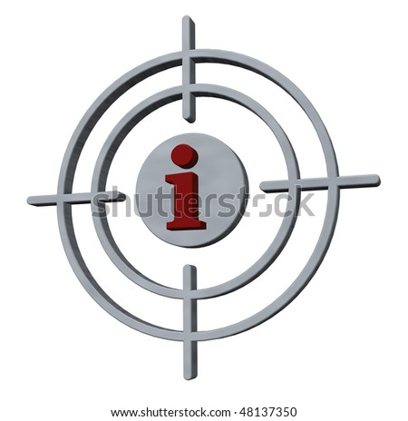 gun sights with the letter i on white background - 3d illustration - stock photo