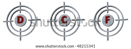 gun sights with the letters def on white background - 3d illustration - stock photo