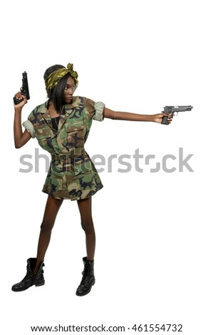 Gun toting beautiful young woman soldier with pistols