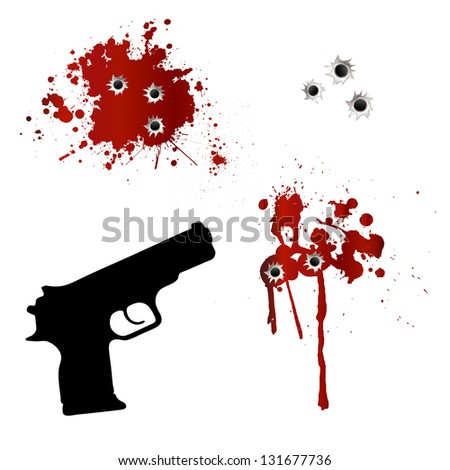 Gun with bullet holes and blood - stock photo