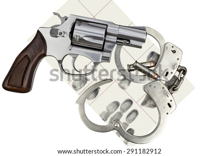 Gun with handcuffs and fingerprint ID for criminal arrest - stock photo