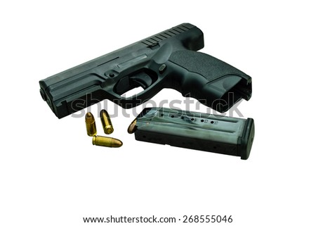 Gun with magazine and ammo on white with clipping path