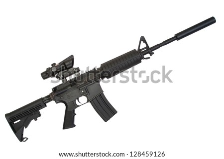 gun with silencer isolated on a white background - stock photo