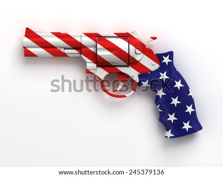 gun with US flag print - stock photo