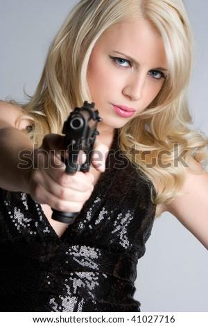 Gun Woman - stock photo