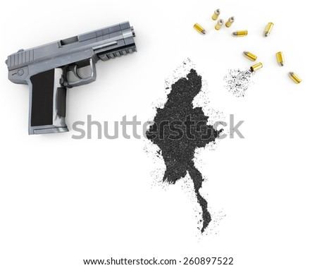Gunpowder forming the shape of Burma and a handgun.(series) - stock photo