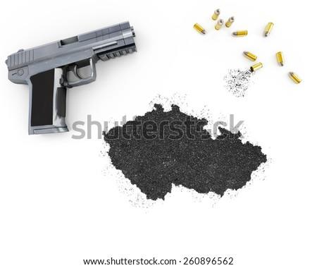 Gunpowder forming the shape of Czech Republic and a handgun.(series) - stock photo