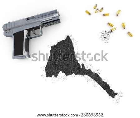 Gunpowder forming the shape of Eritrea and a handgun.(series) - stock photo