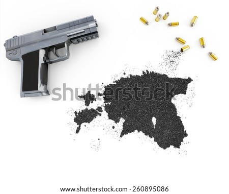 Gunpowder forming the shape of Estonia and a handgun.(series) - stock photo
