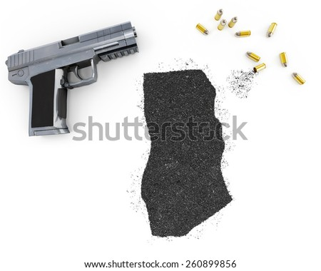 Gunpowder forming the shape of Ghana and a handgun.(series) - stock photo