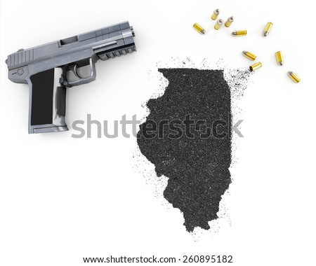 Gunpowder forming the shape of Illinois and a handgun.(series) - stock photo