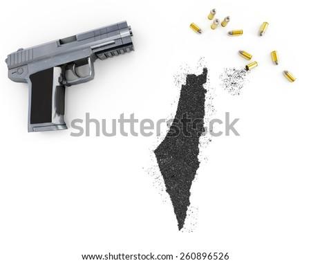 Gunpowder forming the shape of Israel and a handgun.(series) - stock photo