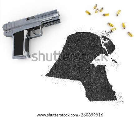 Gunpowder forming the shape of Kuwait and a handgun.(series) - stock photo
