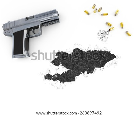 Gunpowder forming the shape of Kyrgyzstan and a handgun.(series) - stock photo
