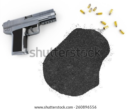 Gunpowder forming the shape of Nauru and a handgun.(series) - stock photo