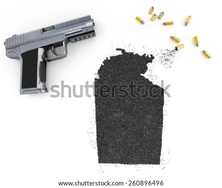Gunpowder forming the shape of Northern Territory and a handgun.(series) - stock photo