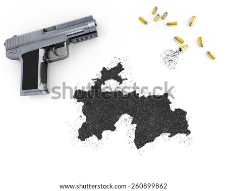 Gunpowder forming the shape of Tajikistan and a handgun.(series) - stock photo