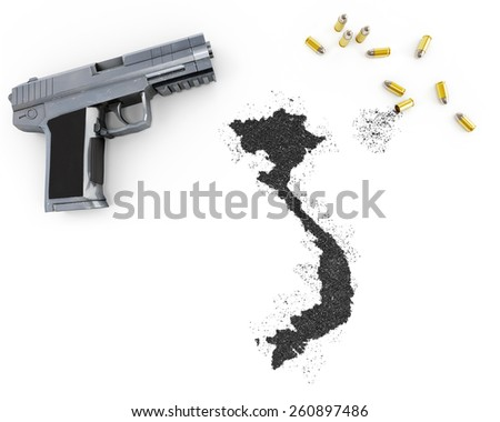 Gunpowder forming the shape of Vietnam and a handgun.(series) - stock photo