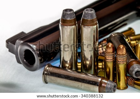 Guns and Ammunition for Fun or Self Defense. Illustration for second amendment rights. - stock photo