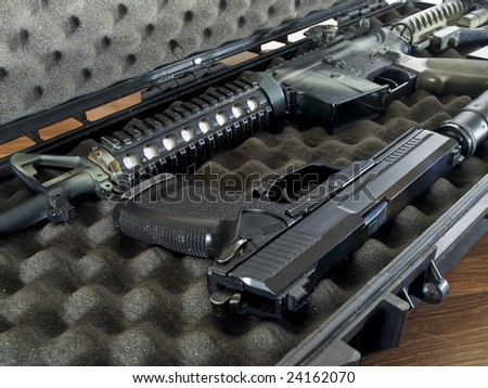 Guns in Soft Secure Storage Case - stock photo