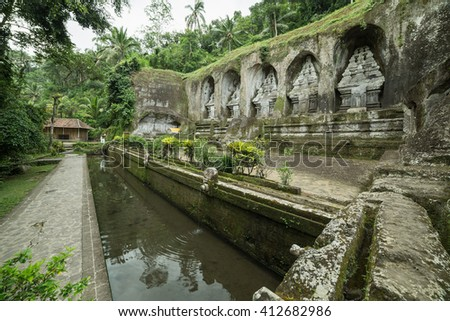 Gunung Kawi Temple. Cave in Gunug Kawi is an ancient temple situated in Pakerisan River, near Tampaksiring village in Bali.