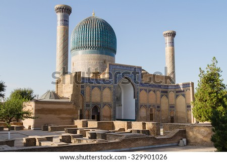 Gur e Amir Mausoleum in Samarqand, Uzbekistan, Central Asia. This is the place where conqueror Tamerlang (Amir Temur) was buried. Samarkand lies on the Silk Road